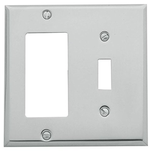 - Baldwin 4743.260 Beveled Edge GFCI/Single Toggle Combo Switchplate, Polished Chrome