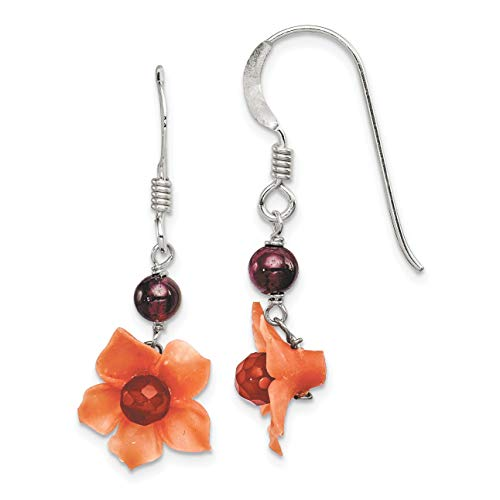 - Sterling Silver Simulated Garnet Bead and Simulated Carnelian Dangle Flower Earrings (35mm x 13mm)