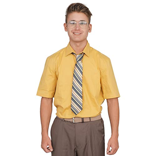 Adult Halloween Costume Set Office Schrute Short Sleeve T-Shirt and Tie (XX-Large) Brown