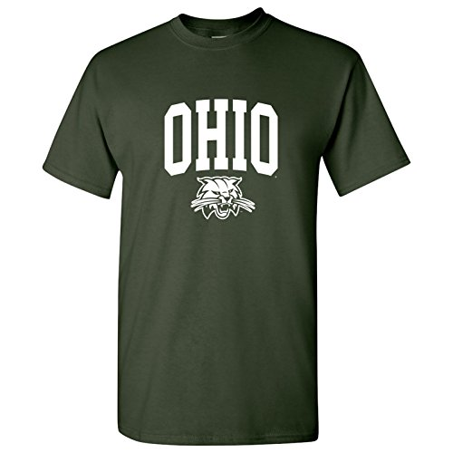 - UGP Campus Apparel AS03 - Ohio University Bobcats Arch Logo T-Shirt - Small - Forest Green