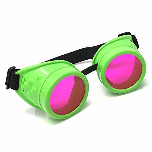 UV Glow in the Dark Steampunk Rave Retro Round Goggles Neon Green]()