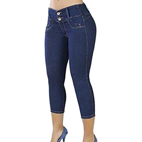 3/4 Strappy Femmes Pantalons Dames Skinny Taille Basse Jeans Couleur Unie Femmes Pantalons Pantalons S/M/L/XL Bleu B