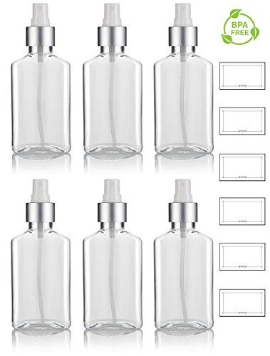 3.4 oz / 100 ml Clear PET (BPA Free) Plastic Oblong Flask Style Refillable Bottle with Silver Fine Mist Sprayer (6 pack) + Labels