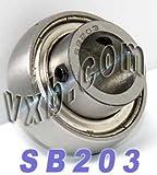 SB203 Axle Insert Mounted Bearing, 2 Bolt, 17mm Inside Diameter, Set screw Lock, Steel, Metric