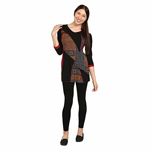Women's Tunic Top - Festival Tribal Black & Multicolor 3/4 Sleeve Shirt - 3X