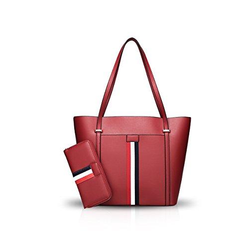 PU Simple Red Shoulder Large Tote amp;Doris Wine Bag Bag Capacity Nicole Handbag Leather Women wq8fx6