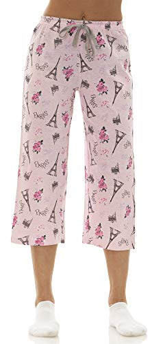 - dollhouse (7193DH Womans Novelty Print Cotton Jersey Capri Lounge Pant Size: XLarge in Pink Paris (681)
