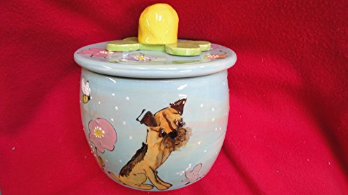 Border Platter (Border Terrier Treat Jar, Personalized at no Charge. Signed by Artist, Debby Carman.)