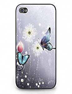 Tough Case Cover Beautiful Blue Black Butterfly On Flower for iPhone 5 5s