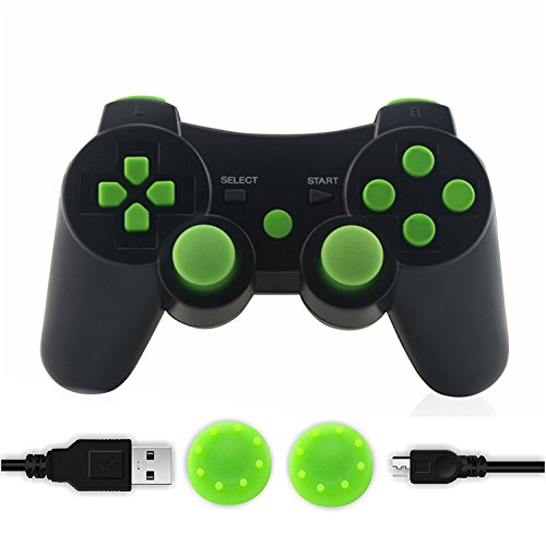 PS3 Controller, SKILEEN Wireless Bluetooth Double Vibration Game Remote Control Joystick Multi-Media Game Joypad for PS3 with Charger Cable (Green) by SKILEEN