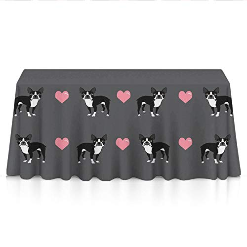 NiYoung Premium Rectangular Table Cloths for Holiday Dinner, Celebrations, Banquet - Boston Terrier Love Hearts Spillproof Wrinkle Free Table Toppers Polyester Wedding Decor ()