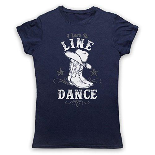 I Love To Line Dance Country Barn Dance Camiseta para Mujer Azul Marino