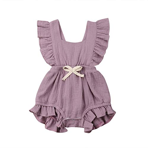 Toddler Girl Clothes Baby Girl Outfits Fashion Girl Light Purple Flutter Sleeveless Bubble Cotton Elastic Onsies Rompers Backless Cool Jumpsuit Bow Sunsuit Bodysuit 18-24 Months ()