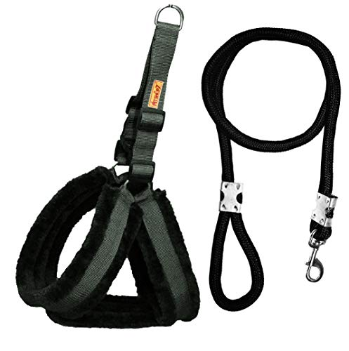 Petshop7 Nylon Dog Harness & Leash Rope Set with Fur 0.75 inch Small – (Chest Size – 23-28) (Black)