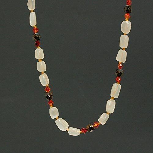 Moonstone Gemstone Necklace - Swarovski Fire Opal, Jet Bronze Picasso, Sterling Silver, 21-inch