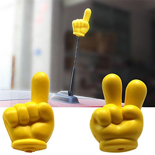 [해외]COGEEK 노란색 집게 손가락 승리 V- 손가락 안테나 Topper 공 EVA 거품 자동차 스타일링 지붕 꾸미기/COGEEK Yellow Forefinger Victory V-finger Antenna Topper Ball EVA Foam Car Styling Roof Ornament