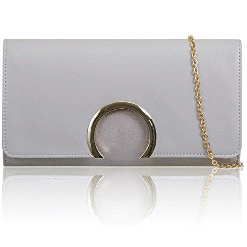 Xardi London baguette da donna pochette in ecopelle scamosciata donne damigella d onore sera borse Grey