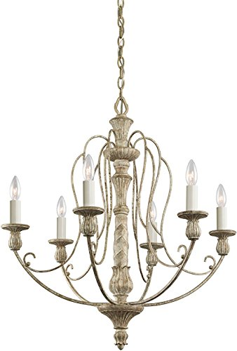 Kichler 43257DAW Hayman Bay Chandelier 6-Light, Distressed Antique White For Sale
