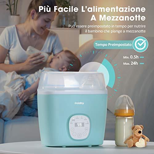 Doppia Scaldabiberon Portatile Elettrico, Sterilizzatore con Display LCD Riscaldatore di Cibo Intelligente per Bambino