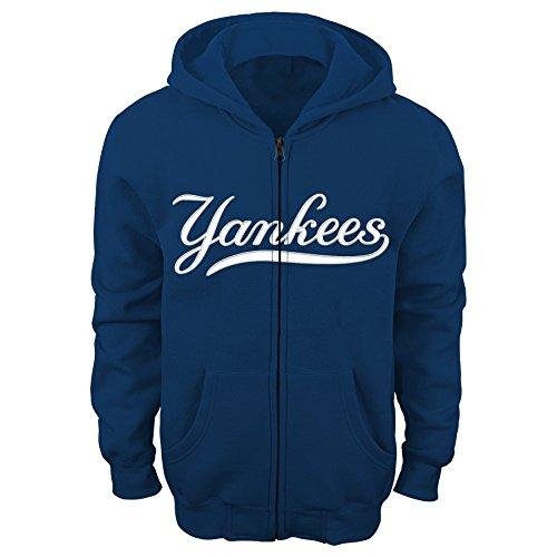 MLB New York Yankees Boys 4-7 Full Zip Fleece-L (7), Athletic Navy
