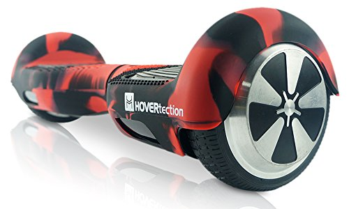 HOVERtection Original Silicone Protective Cover for 2-Wheel Self-Balancing Scooters (6.5 Inch) – Promotes Scratch, Bump and Scuff Resistance – Textured, Non-Slip Surface (Black & Red)