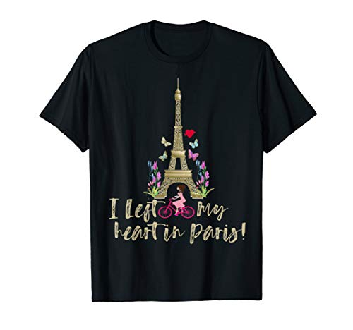 I left my heart in Paris France Eiffel Tower bicycle flower. T-Shirt