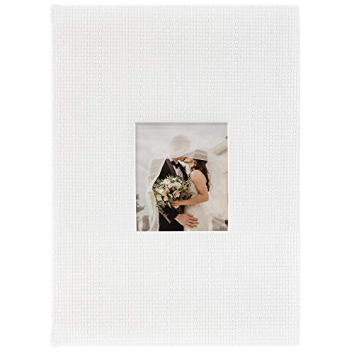 Golden State Art, Memo Photo Album 300 Pockets Hold 4x6 Pictures - Embossed Basket Weave Design Book - 3 Photos Per Page - DIY Gift, Use for Family, Wedding, Memories, Collection - Color: White