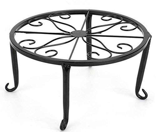 - 9 inch Metal Potted Plant Stand - Proof Wrought Iron Flower Pot Holder Iron Short Flower Pot Bracket Tripod Floor Dish Decorative Flower Pot Pot Holder (Black)