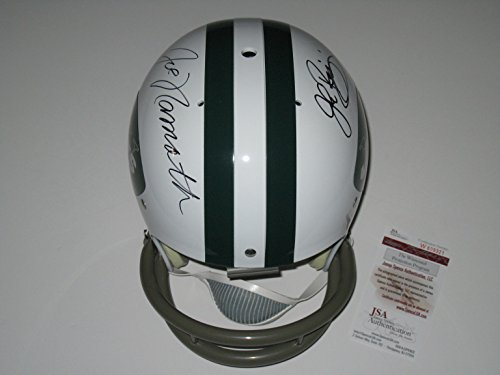 Joe Namath and John Riggins Autographed New York Jets TK Suspension Full Size Helmet (JSA Witness COA)