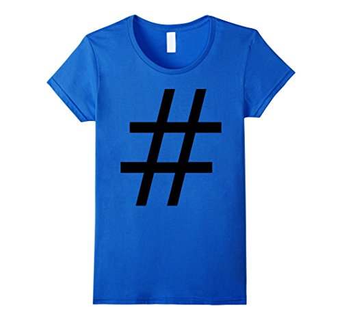 Social Costume Ideas (Womens Hashtag Social Media Costume Shirt for Halloween Small Royal Blue)