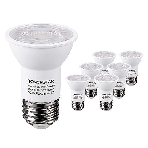 TORCHSTAR PAR16 DimmableLED SpotLight Bulb, 6.5W (50W Halogen Equivalent), 500lm, 40°BeamAngle,UL & ENERGY STAR Listed Spotlight, 5000K Daylight, E26 Medium Base, 5 YEARS WARRANTY, Pack of -
