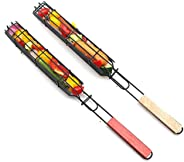 Mabor Espetos Kebab, 2/4 peças de cesto de churrasco com cabo de madeira Kabob espetos de churrasco, espetos p