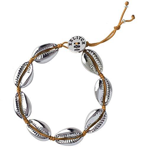 KELITCH Natural Shell Gold Shell Cowry Beaded Friendship Bracelets Boho Fashion Beach Seashell Strand Bracelets Women Jewelry (Yellow 2E) ()