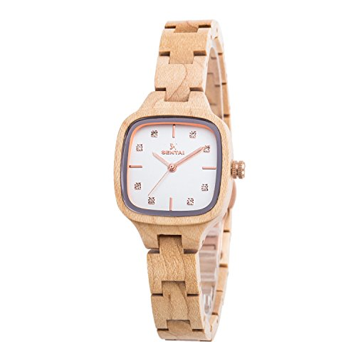 Price comparison product image Wooden Watches, Women's Crystal Decoration Squared Dial Handmade Wood Wrist Watch (Maple)