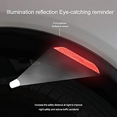 LOCEN Universal Car Reflective Strips,Wheel Eyebow Warning Safety Reflector Sticker, U-Type Door Edge Protection for Vehicle Household Appliances Truck - 4 Packs - Red: Automotive