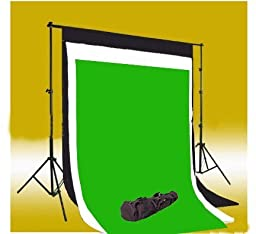 CowboyStudio Photography 10\' X 20\' Black, White & Chromakey Green Muslin Backdrops with 10 ft Heavy Duty Background Support System With Carrying Case