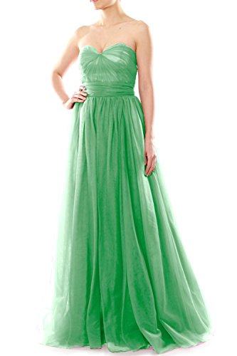 MACloth Women Long Sweetheart Convertible Tulle Wedding Party Bridesmaid Dress Menta
