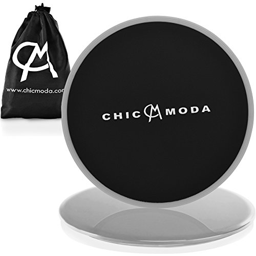 CHICMODA Gliding Discs Core Sliders, Dual Sided Disks Fitness Equipment for Abdominal, Home Exercises to Strengthen Core, Glutes, and Abs, Used on Carpet or Hard Floors with Carry Bag,Grey