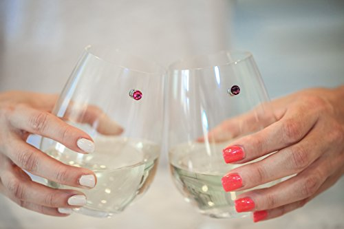 Swarovski Crystal Magnetic Wine Glass Charms Set of 12 Glass Markers that Work on Stemless Glasses - Gift/Storage Box Included by Simply Charmed by Simply Charmed (Image #4)