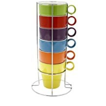 JJA So Fresh So City Cappuccino Cup Set - Multi-Coloured - with Rack
