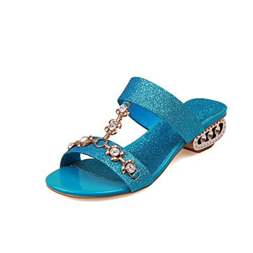 QIN&X La Mujer Peep Toe Sandalias de Tacón bajo Blue