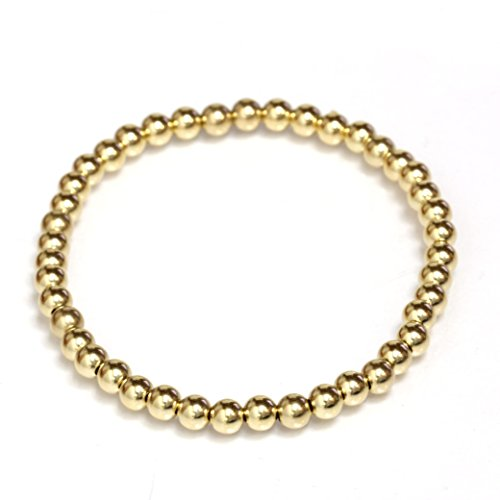 Beaded Stretch Bracelet 14k Solid Gold Yellow, White and Rose (yellow-gold) (14k Gold Bead Bracelets)