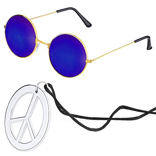 Beelittle Hippie Costume Accessories for Men and Women - Retro Hippie 60's Style Circle Glasses Peace Sign Necklace (Blue)