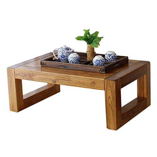 (Solid Wood Low Table Vintage Elm Tea Table Solid Wood Table Japanese Tea Ceremony Table Tatami Bay Window Balcony Coffee Table Zen Small Table (Size : 70x45x30cm))