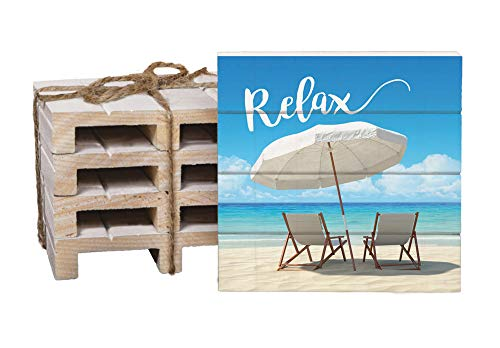 Relax Beach Chairs on the Shore 4 x 4 Inch Dried Pine Wood Pallet Coaster, Pack of 4