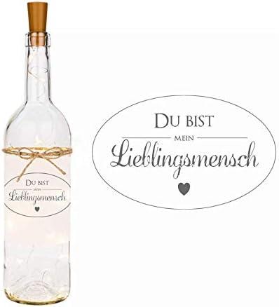 LED Flaschenlicht mit Spruch Du bist mein Lieblingsmensch I Dekoflasche mit persönlicher Widmung I Geschenk als Dankeschön, zum Geburtstag, zum Muttertag, zu Ostern I für Frauen