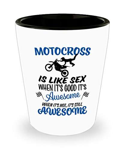 Motocross Shot Glass - Dirt Bike Rider Present - Funny Sexy