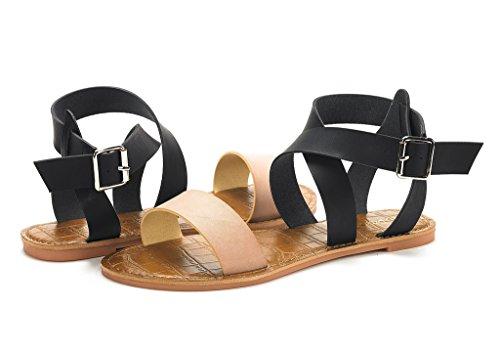 Dröm Par Womens Öppen Tå Mode Spänne Kors Och Tvärs Valcre Fotled Remmar Sommardesign Platta Sandaler Naken Svart