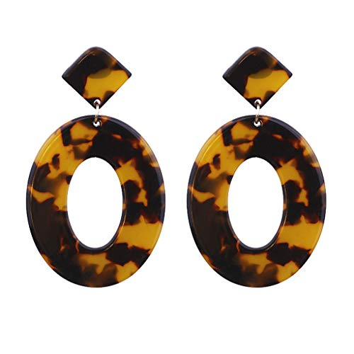 Women Acrylic Earrings Personality Creative Acetate Plate Geometry Dangle Mottled Hoop Earrings (Brown)