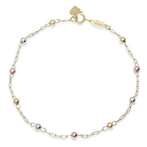Heart Beaded 14k (Pori Jewelers 14K Solid Gold 3.0mm Beaded Ball Bracelets-7.5